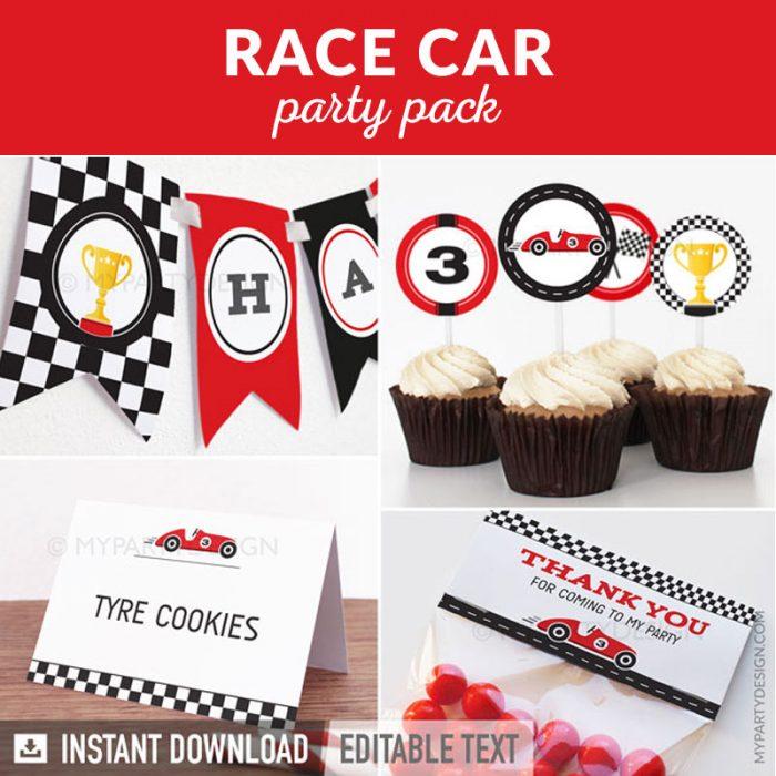 race car party decoration printables