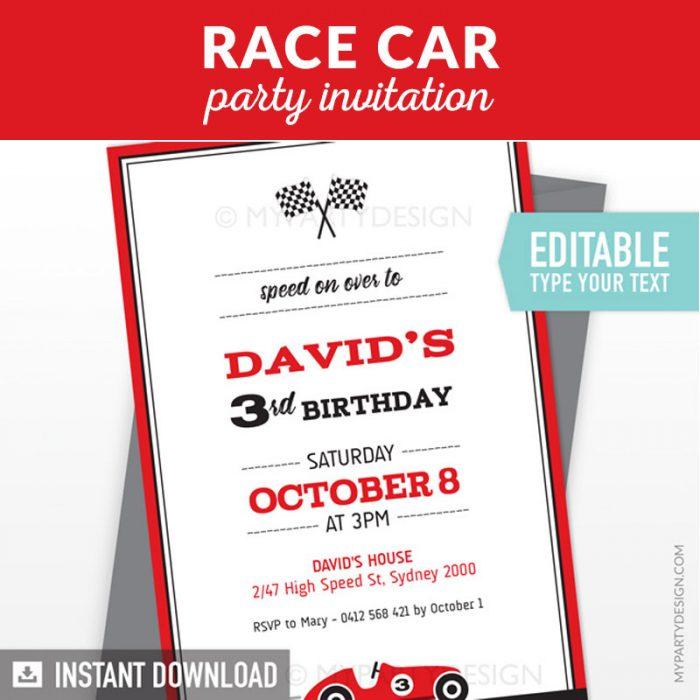 Race Car Birthday Invitation