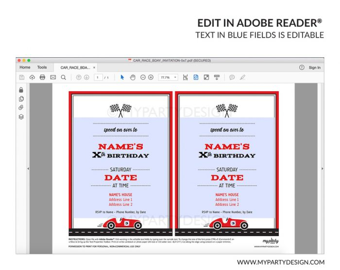 car party invitation - editable printable invite
