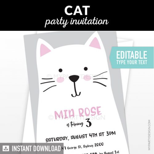 cat party invitation with grey background