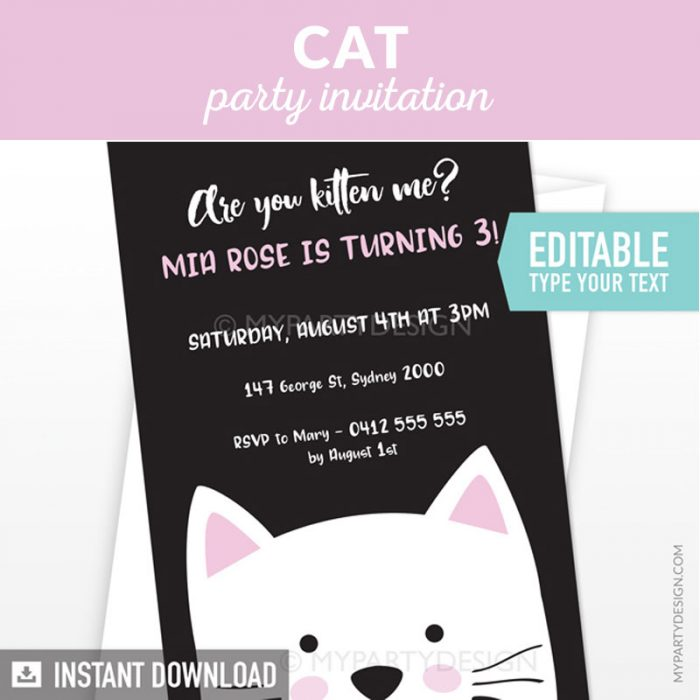 cat party invitation with black background