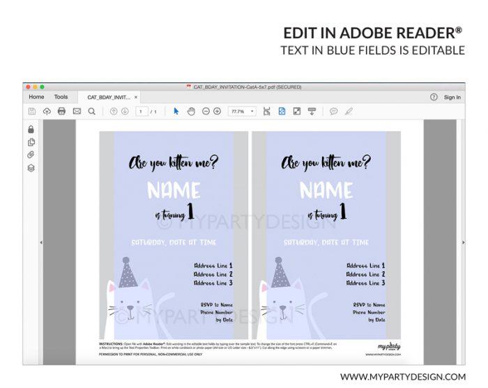grey cat party invitation - editable printable invite