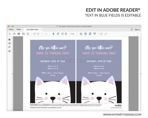 black cat party invitation - editable printable invite