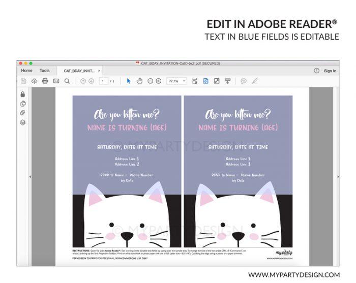 black cat party invitation - editable printable invite