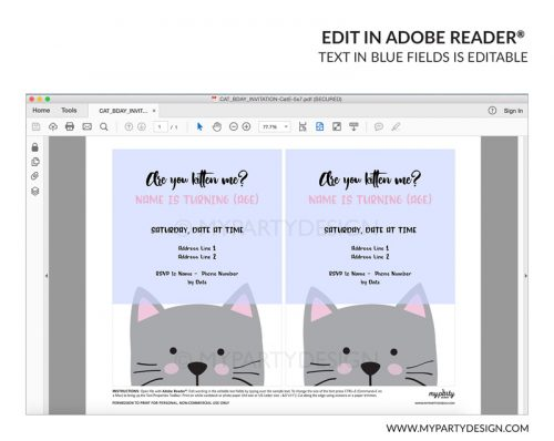 white cat party invitation - editable printable invite