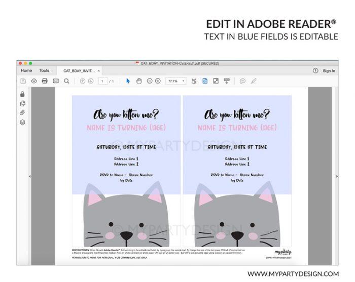 white cat party invitation - editable printable invite