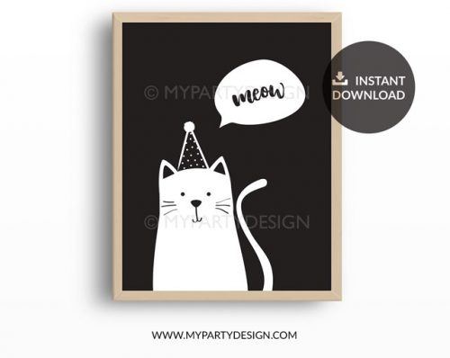modern black and white cat print for kids bedroom