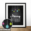 printable merry and bright christmas print