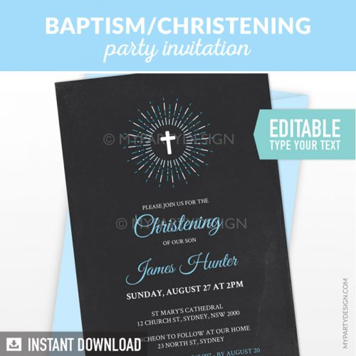 blue chalkboard baptism or christening party invitation printable and editable