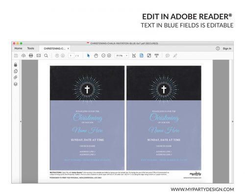 blue christening party invitation - editable printable invite