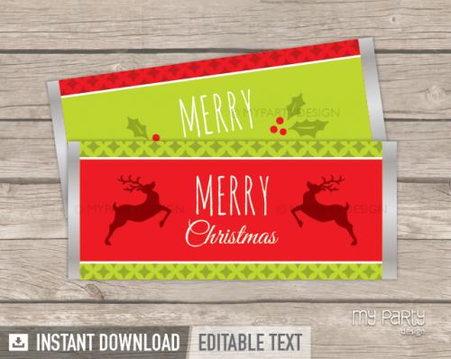 printable Christmas chocolate wrappers
