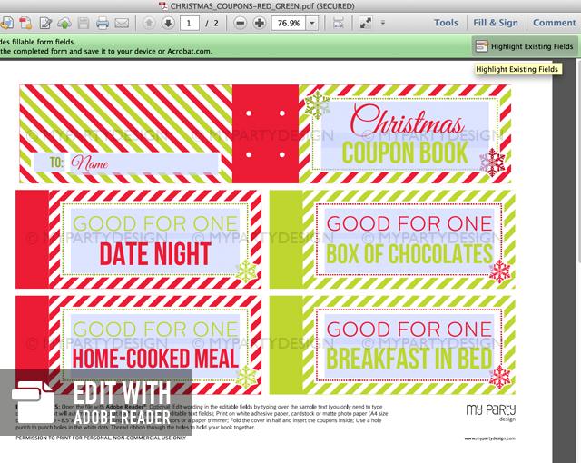 christmas coupon book - red green printable pdf