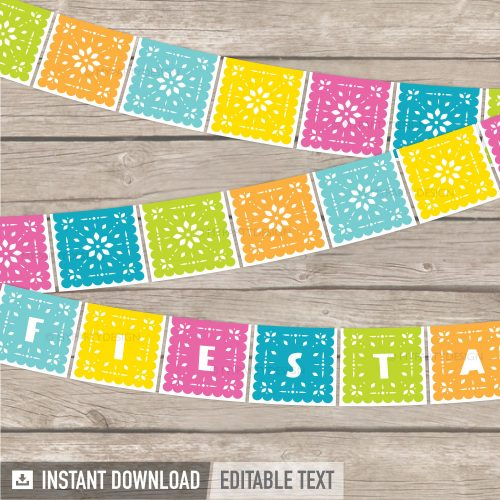 printable papel picado banner for Cinco de Mayo fiesta party