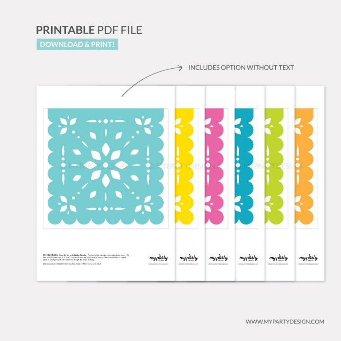 printable papel picado bunting for Cinco de Mayo party