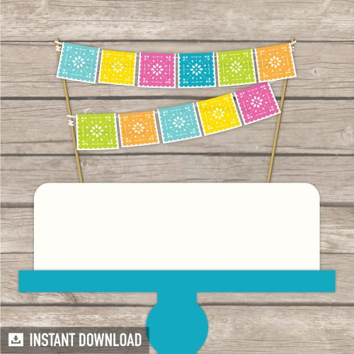 printable papel picado cake topper for Cinco de Mayo fiesta party