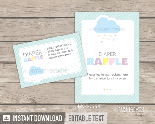 cloud baby shower diaper raffle tickets and sign