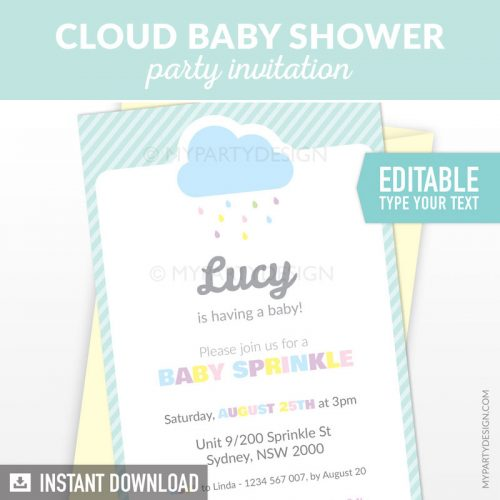 cloud baby shower invitation printable and editable for a baby sprinkle