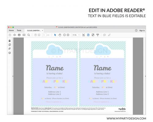 cloud baby shower party invitation - editable printable invite