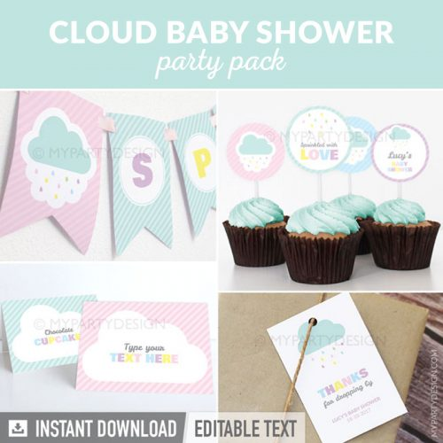 cloud baby shower party decoration printables for a baby sprinkle