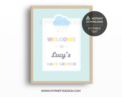 cloud baby shower welcome sign