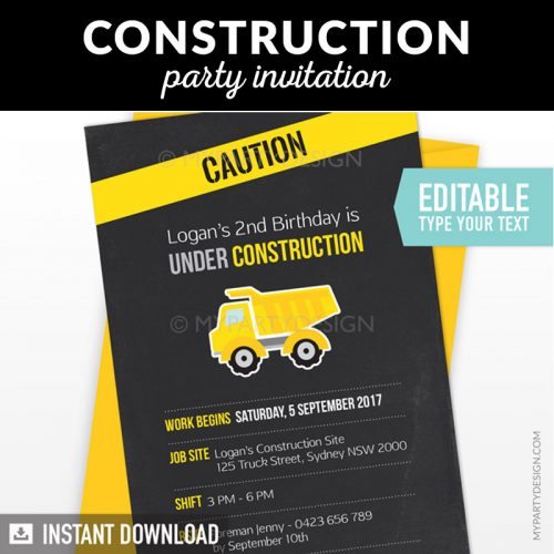 construction birthday invitation with black chalkboard background