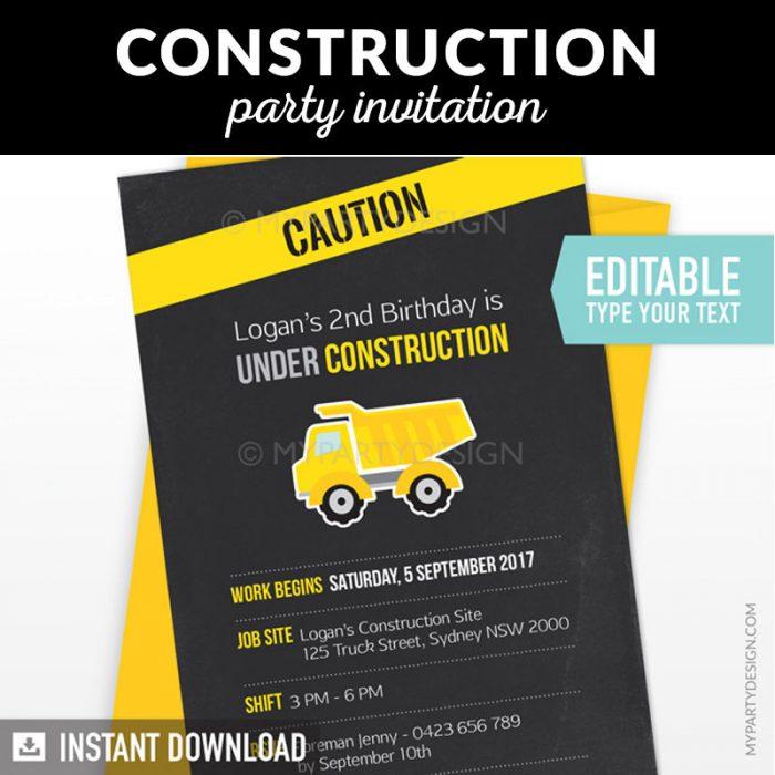 construction birthday invitation with black chalkboard background
