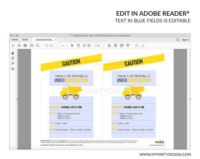 construction party invitation - editable printable invite