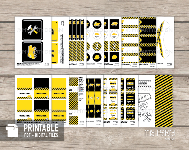 Printable Construction Party pack in yellow and black with a truck graphic