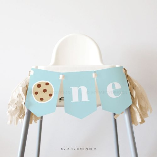 cookies and milk first birthday high chair banner