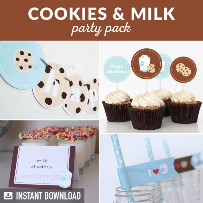 cookies and milk party decoration printables