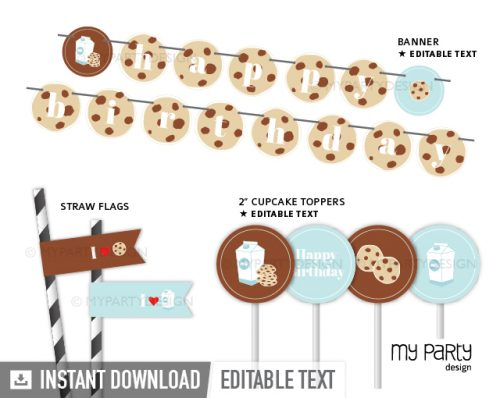 cookies and milk party printables and decorations