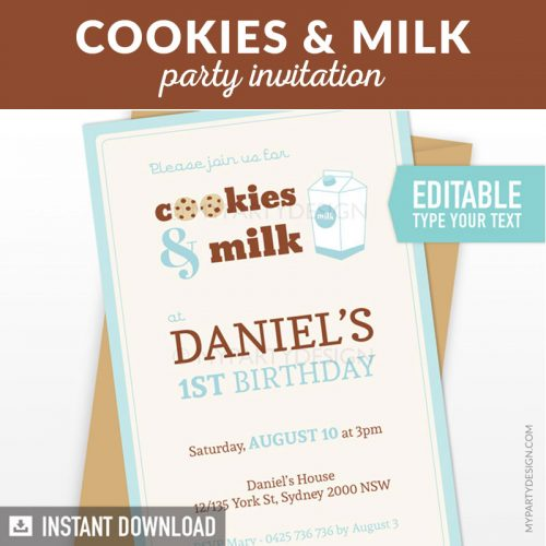 cookies and milk birthday invitation for first birthday