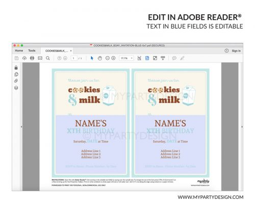 cookies and milk party invitation - editable printable invite