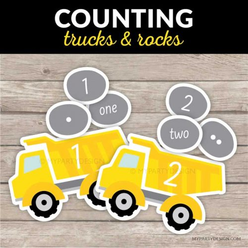 Printable counting game - trucks and rocks