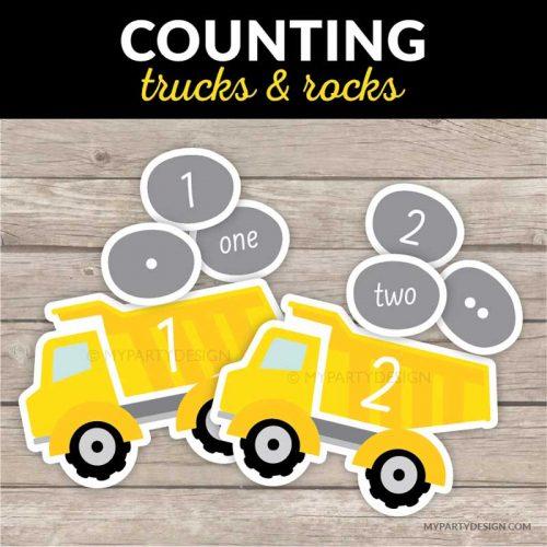 Printable counting game - trucks and rocks