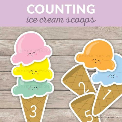 counting ice cream scoops printable
