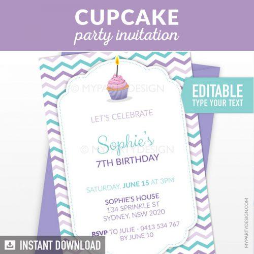 baking or cupcake birthday invitation