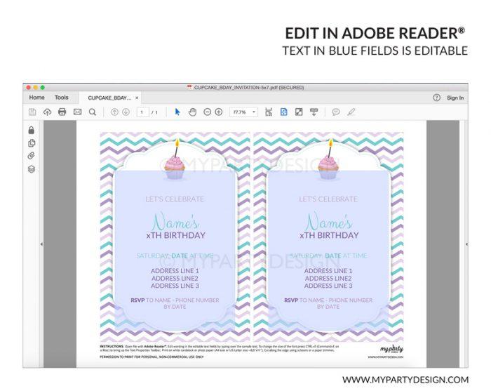 cupcake party invitation - editable printable invite