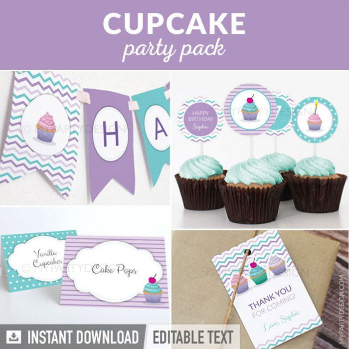 cupcake or baking party decoration printables