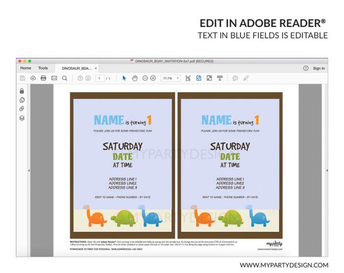 dinosaur party invitation - editable printable invite