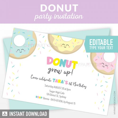 donuts party invitation printable