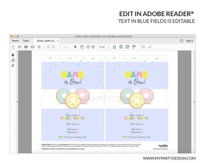 donut party invitation - printable editable invite