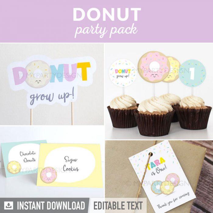 donut party decoration printables