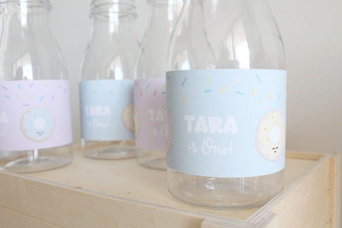 donut party bottle labels