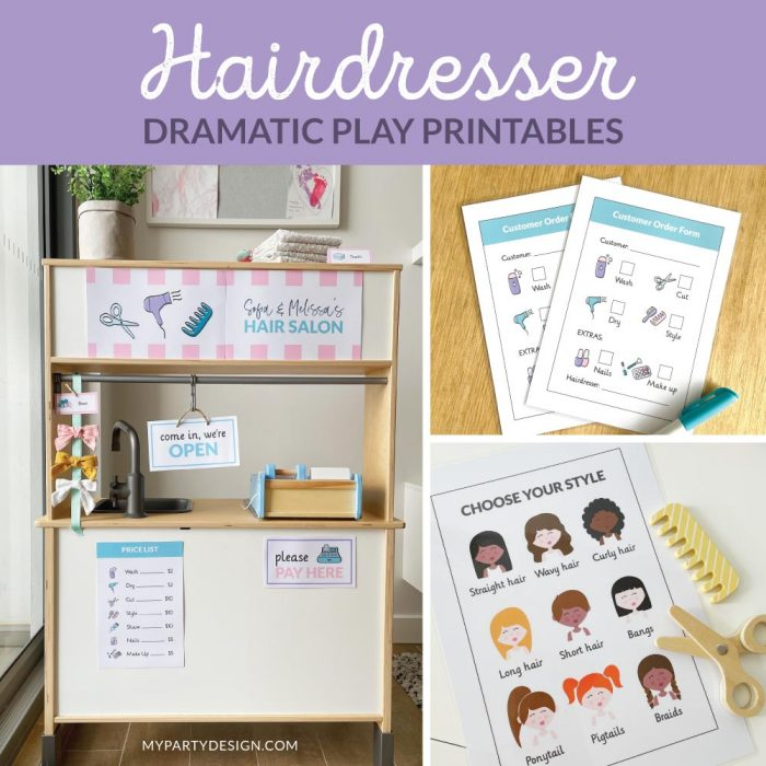Hairdresser Dramatic Play Printables for Imaginative play
