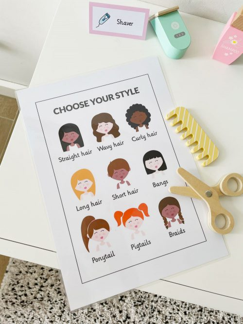 haircut styles sign from the hair salon or hairdresser dramatic play printables set