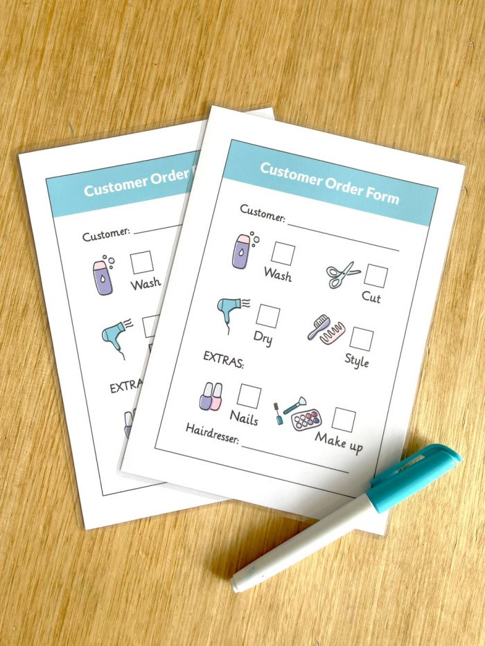 Customer order forms from the hair salon or hairdresser dramatic play printables set