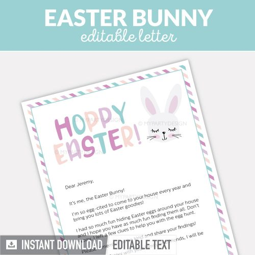 Easter bunny letter, Editable PDF digital file