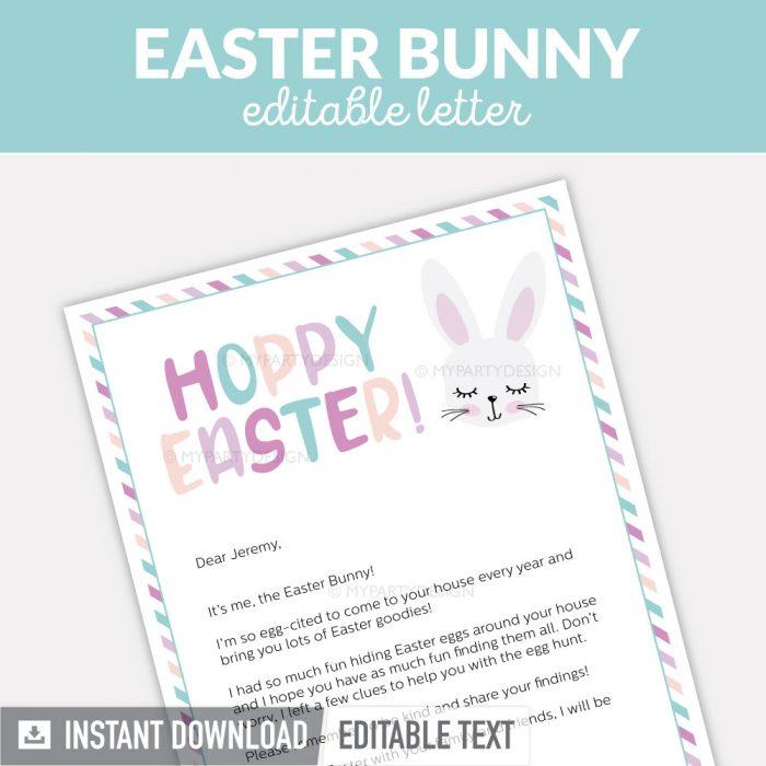 Easter bunny letter, Editable PDF digital file