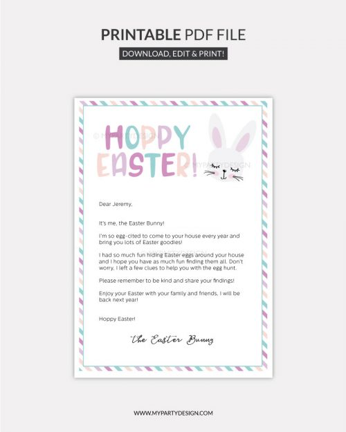 Easter bunny letter template you can personalize for your child